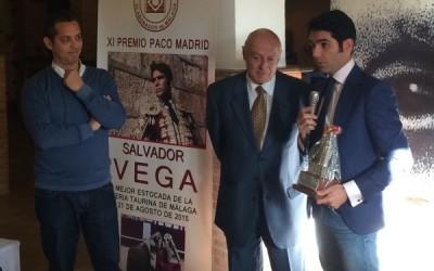 Salvador Vega, XI Premio Paco Madrid a la mejor estocada de la feria de Málaga